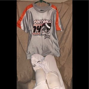 Youth Football Grey/Orange Jersey & Pads - White